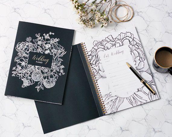 Wedding planner book / Wedding Organiser / Plan your big day / Bride Notebook / Wedding Journal / Wedding Keepsake / Monochrome