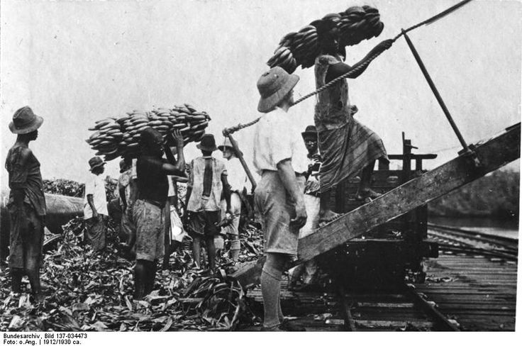 Kamerun -Loading of bananas for export to Germany, 1912.