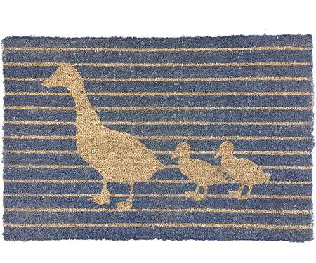 Duck Grey Stripe Large Doormat Vinyl Backed