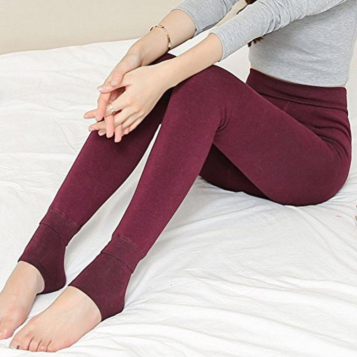 Saprex Women Winter Leggings with Cotton Thicken Warm Pants #Wine - Brought to you by Avarsha.com