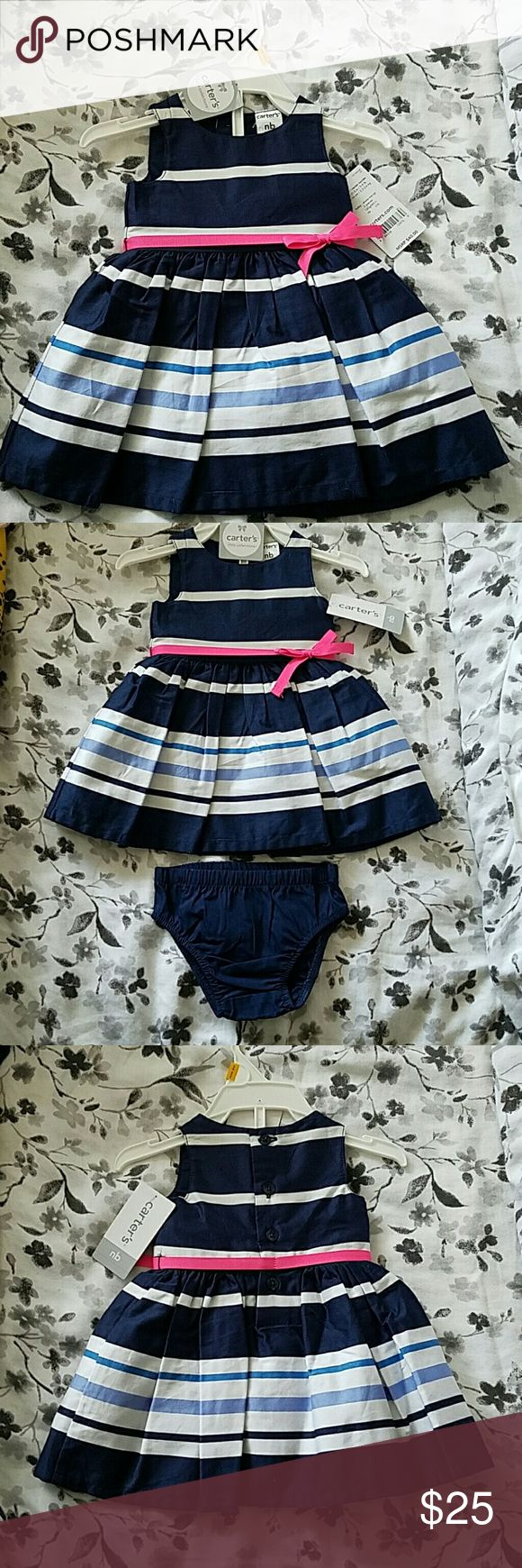 Navy blue and white dress Navy blue and white dress with hot pink ribboned waist and bow. Dress includes the panties to cover the babies pamper. Carter's Dresses Formal
