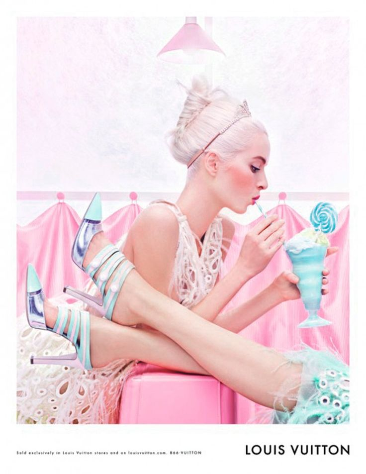 Louis Vuitton Ad Campaign - vintage, retro inspired diner style fashion editorial with pastel tones http://pinterest.com/arenaint
