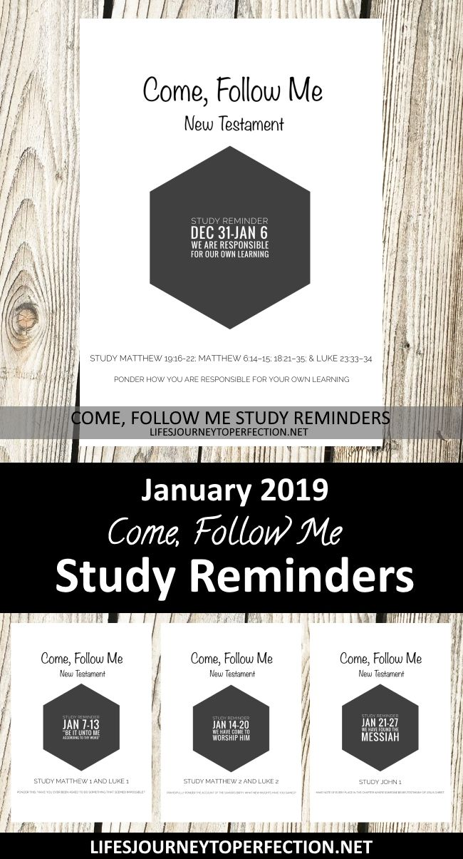 Hometeaching Ideas For November 2019 January 2019 Come, Follow Me Sunday School Study Reminders | Lifes