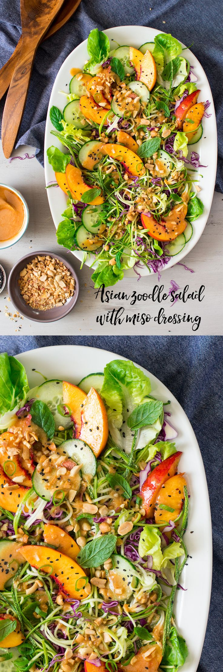Asian zucchini noodle salad with miso dressing is a great carb-free salad.It's light, fresh and no cook, which is ideal in hot weather.
