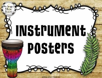 A colorful, comprehensive set of instrument posters to display in your classroom! Posters include: African instruments Chinese instruments Indian Gamelan instruments Orchestral Instruments Classroom Percussion instruments Looking for
