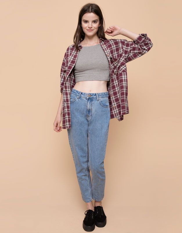 Pull&Bear - dames - jeans - mom jeans met hoge taille - blauw - 05682330-I2015