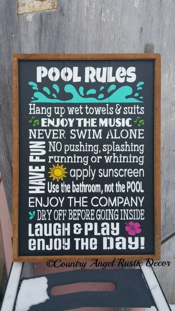 Pool Rules Typography Subway Sign Rustic Distressed And