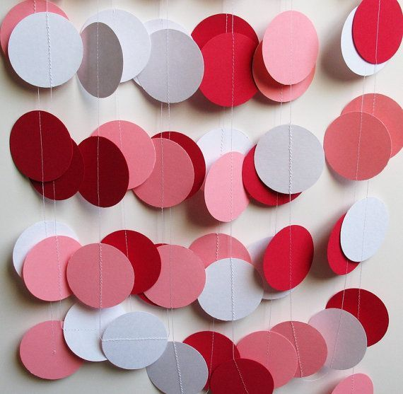 Garland 14' Pink, Red, And White Cardstock Circles - Valentine Garland
