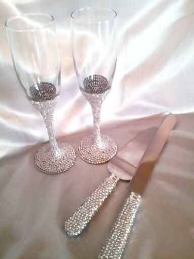 Rhinestone Cake Server And Toasting Flute Set Custom Made To Order