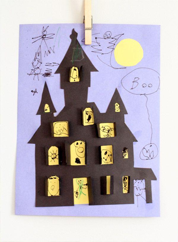 Manualidad infantil para Halloween: casa encantada