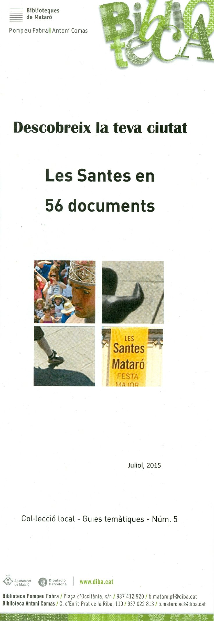 Guia bibliogràfica sobre Les Santes. Clicant sobre la imatge i seguint l'enllaç (VISIT SITE) us la podreu descarregar i imprimir.