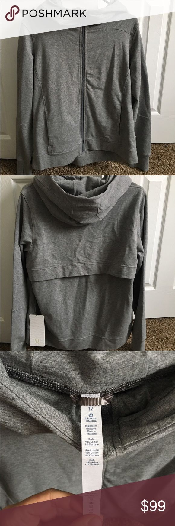 Lululemon belle hoodie gray nwt size 12 Cold weather won't slow you down, thanks to Lululemon. Womens. Full zip jacket. French Terry fabric with four-way stretch. Oversized hood. Zipper garage protects your chin from chafing. Mesh fabric panel for ventilation.  Pictures speak 1000 words, please ask questions prior to bidding.  Comes from a smoke free home.  Selling only due to the fact it does not fit, received as a Christmas gift.  Retails at $118.  Thanks for looking! lululemon athletica…