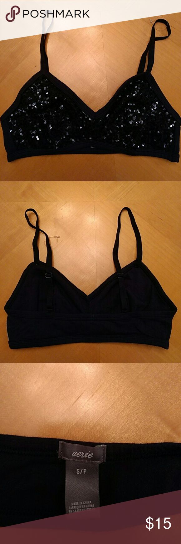 Aerie Sequin Bralette Navy blue sequin bralette (matching velour shorts available in size XS) NWOT never worn aerie Intimates & Sleepwear Bras