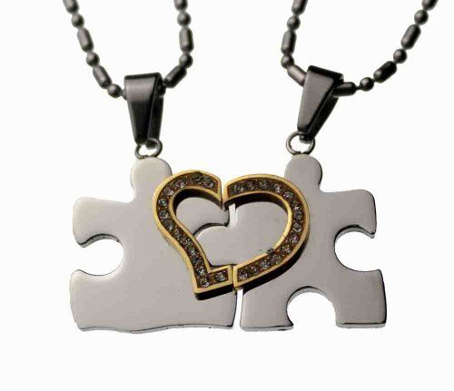 "Lovers /Couple Puzzle Split Heart Pendant Set, Stainless Steel Rainbow Silver Jewelry. $29.97. Puzzle Split heart, with CZ stone. Total weight: 11.98 grams.. High quality 304L stainless steel. Each Size: 3/4"" length x 3/4"" width. Two (20"" & 24"" long"")  Fine Stainless steel chain included. Save 73% Off!"