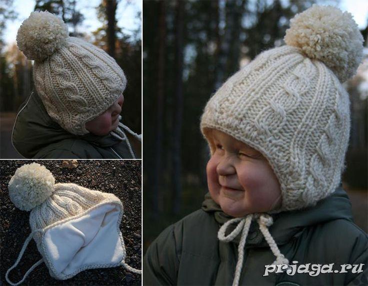 детская шапка – ушанка спицами