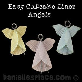 Angel Cupcake Liner Ornament Craft from www.daniellesplace.com Copyright 2014
