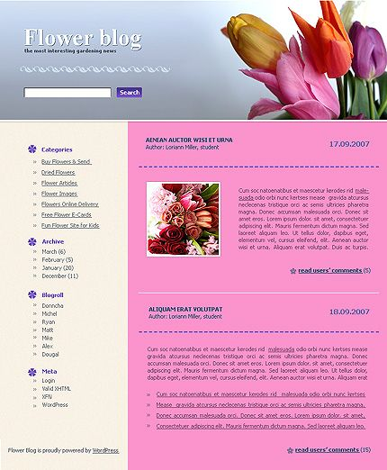Flower Blog WordPress Themes by Di