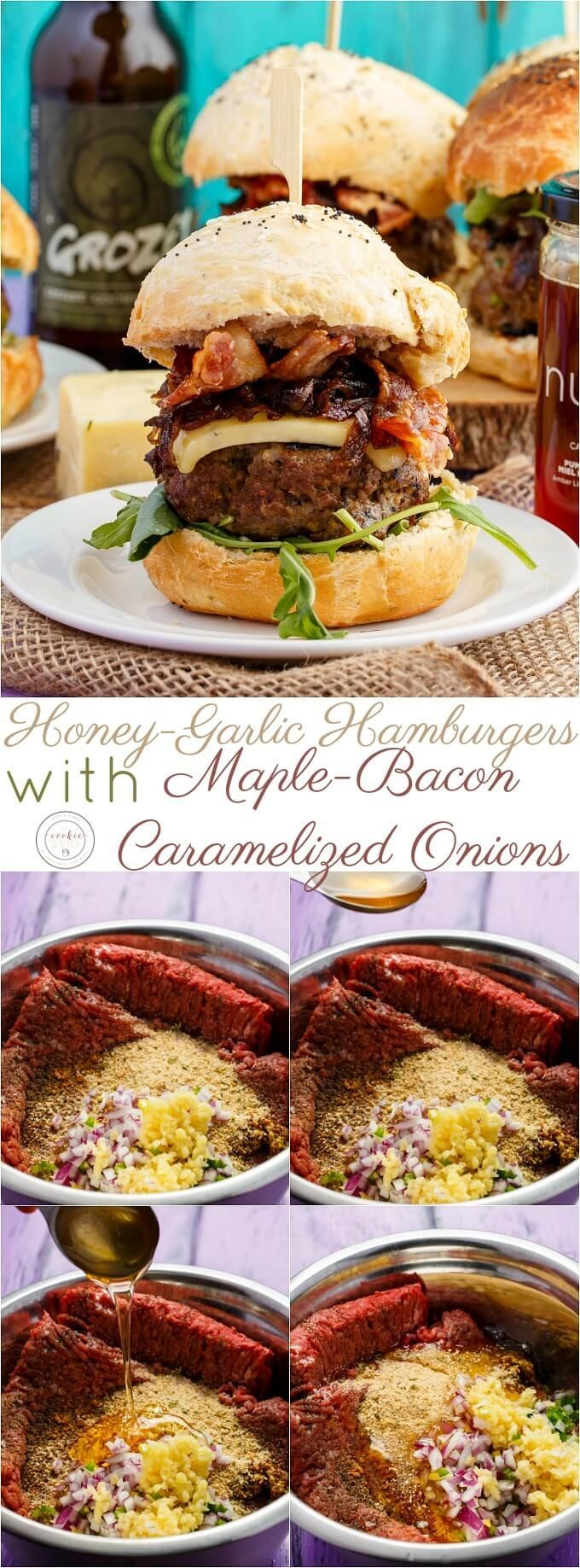 Homemade Honey-Garlic Hamburgers with Maple-Bacon Caramelized Onions | http://thecookiewriter.com | @thecookiewriter | #sponsored | Homemade burgers are the way to go, and this variety is perfect for Canada Day (#Canada150)