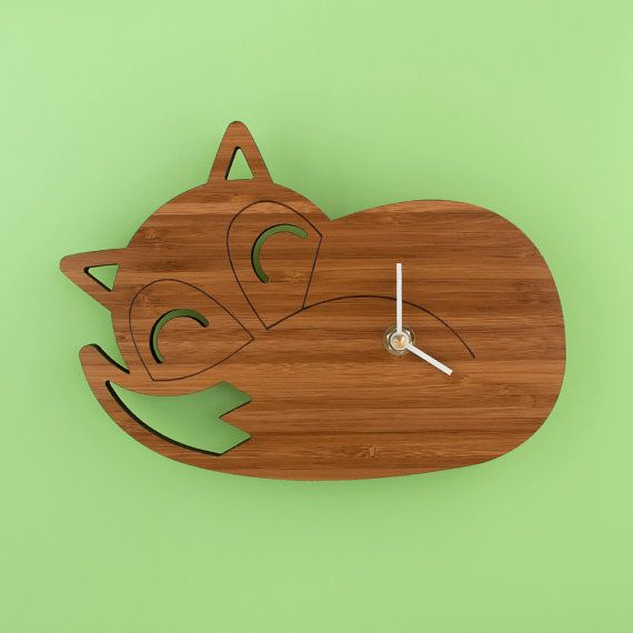 Bamboo Sleeping Fox Clock Woodland Modern by graphicspaceswood, $56.00