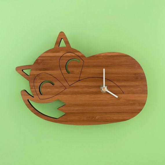 Bamboo Sleeping Fox Clock Woodland Modern by graphicspaceswood, $56.00