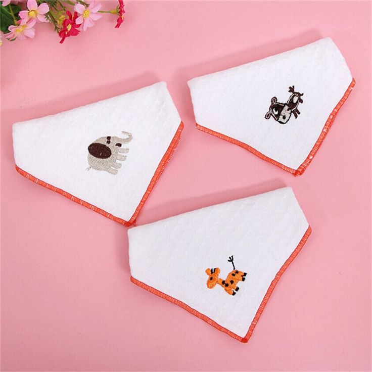 Hot Baby Soft Gauze Cotton Saliva Towel Nursing Feeding Towel Baby White Embroidery Cute Square Handkerchief Multi-functional