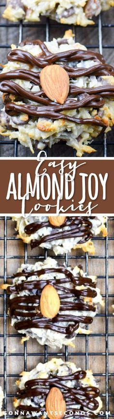 These delicious Almond Joy Cookies are chewy, super easy to put together and are loaded with tender coconut, almonds and just the right amount of chocolate.
