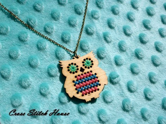 Cross Stitch DIY Kit. Wooden Owl Pendant. by CrossStitchHouse