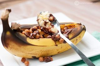BBQ Banana treats! Just slice a banana lengthwise still in the peel and throw in your fave toppings like chocolate, marshmallow, nuts, etc. Throw it on the grill until they melt. You could serve it up in a bowl with ice cream.