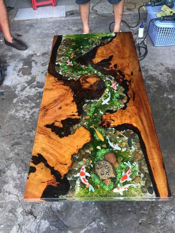 Epoxy Harz transparent Couchtisch handgefertigte individuelle 3d Fisch zeichnen die schönsten Tisch (auf Bestellung)