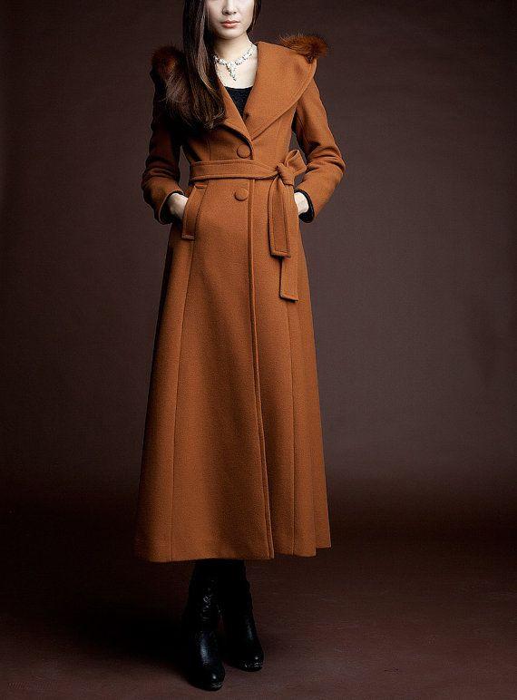 Model Purple Dress Coat Big Sweep Women Wool Winter Coat Long Jacket Tunic