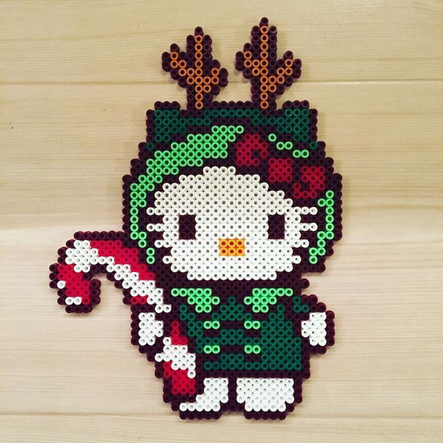 Xmas Kitty perler beads by  kittybeads