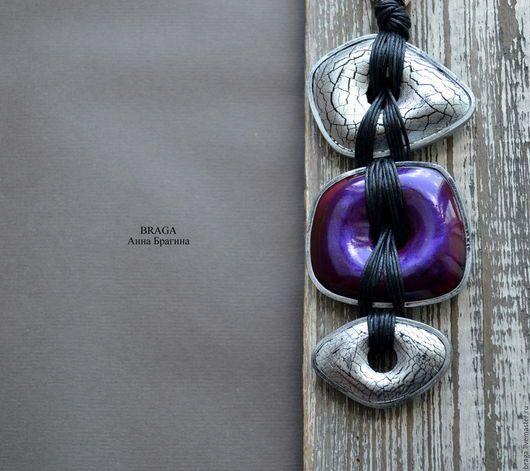 Кулоны, подвески ручной работы. Ярмарка Мастеров - ручная работа. Купить Кулон Кракле фиолетовый с серебром. Из полимерной глины.. Handmade.