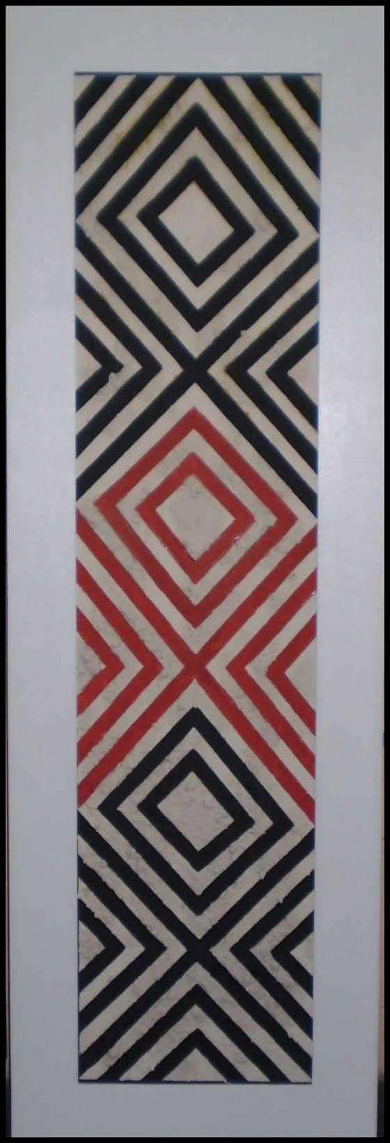 Fco Machado - 2007 - Obra Grafismo Indígena - Relevo com argila 145 x 50 cm