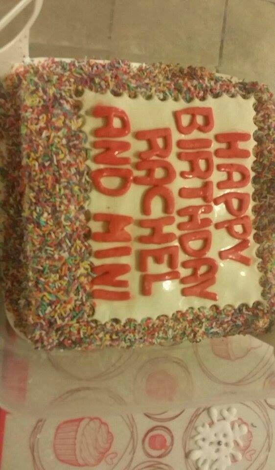 Homemade rainbow sprinkles cake