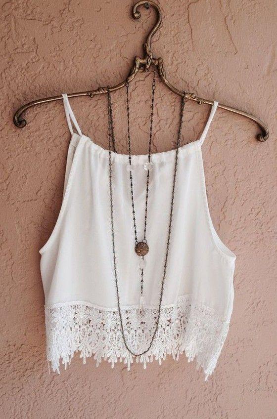 White Plain Condole Belt Lace Hollow-out Round Neck Sexy Vest