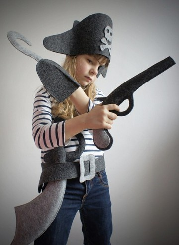 felt pirate gear.  hat, hook, gun, sword