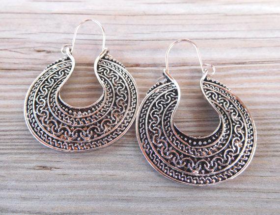 Hoop Earrings Ethnic Tibet Silver Plated by PavlosHandmadeStudio