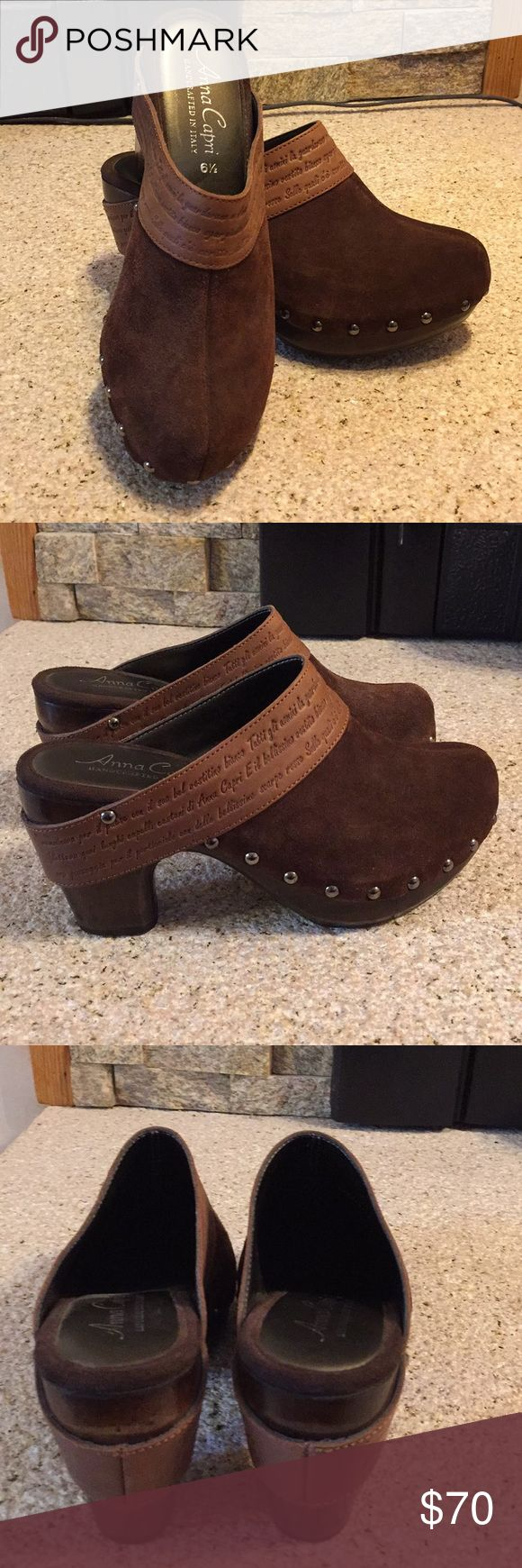 Anna Capri Handcrafted in Italy Clogs Suede 6 1/2 Beautifully crafted in Italy Anna Capri Clogs. Suede leather uppers with wood soles. Perfect with a pair of jeans on a fall or winter day. Worn once. Anna Capri Shoes Mules & Clogs
