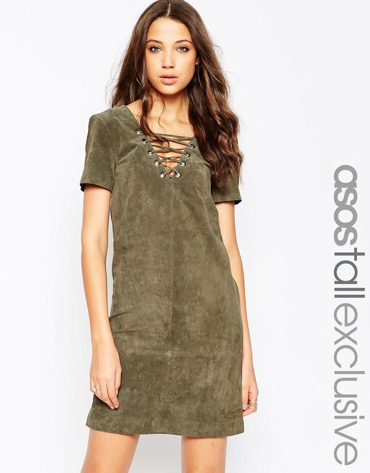 ASOS+TALL+Suede+Dress+With+Lace+Up+Detail