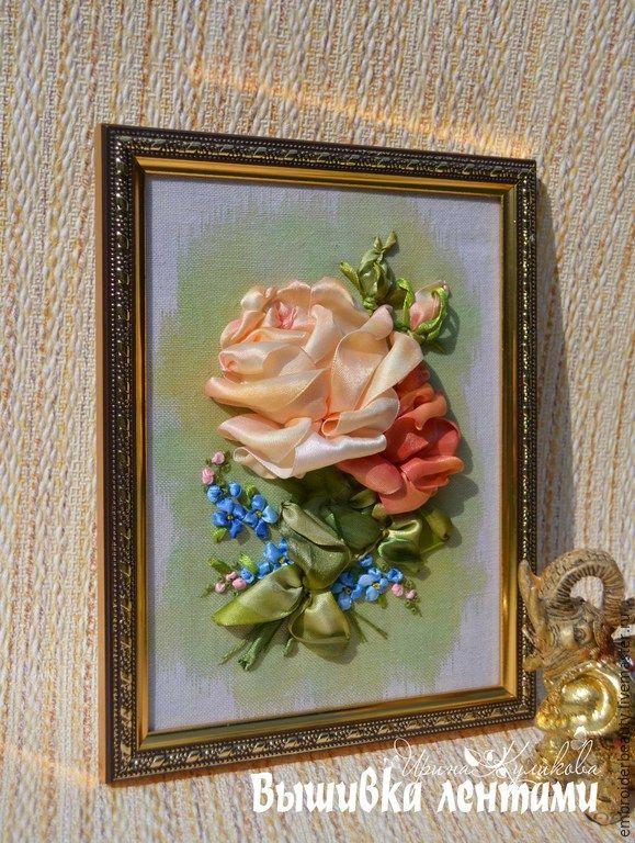 """Купить картина вышитая лентами """" Букет с розами"""" - бежевый, картины, вышивка лентами картины"""