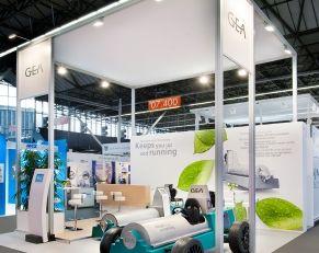 Modulaire (herbruikbare) design beursstand voor Gea Westfalia Separator op de beurs Aquatech 2015