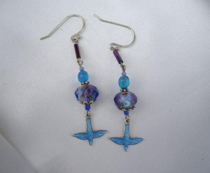 Cloisonne Bluebird & Glass Beaded Dangle 925 Silver Earrings by AaronKiddDesign on Etsy