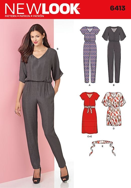 Misses Jumpsuit and Dress in Two Lengths New Look Sewing Pattern 6413. Size 8-20.