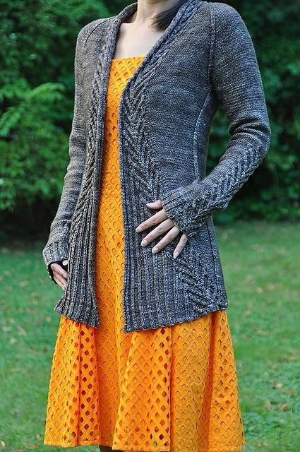 Ink long cardigan, pattern at loveknitting.com, 10 skeins Lang Baby Alpaca.
