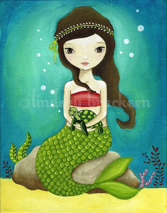 Mermaid & Baby Sea Turtle by Lindsay Brackeen.