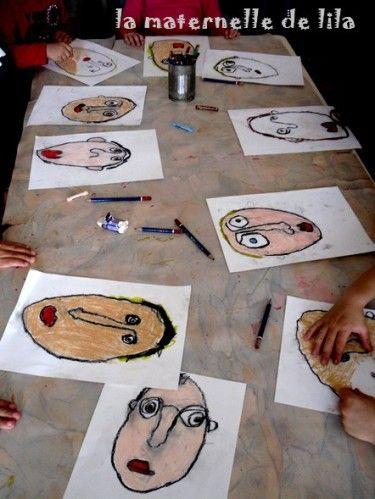 portrait pastels gras GS : entrainement sur une ardoise en dessin dirigé puis ébauche au crayon gris, pastels gras et mélange de couleurs pour faire les ombres sur le visage. fonds à la gouache