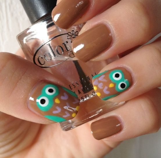 owls! Erica, I want to do this on your nails :)
