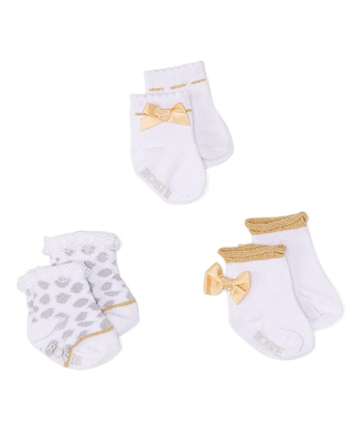 Look what I found on #zulily! White & Gold Bow 3-Pair Non-Skid Socks Set by Rosie Pope Baby #zulilyfinds