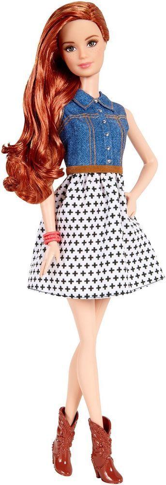 NEW! 2015 Barbie Fashionistas Doll Denim Black White Dress ~ Freckles Redhead