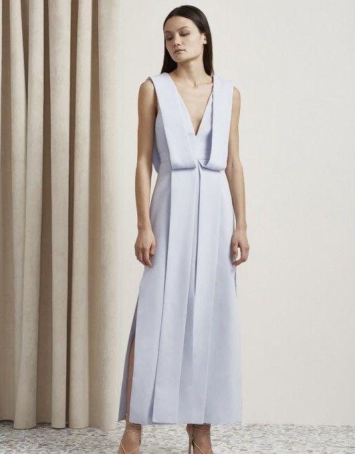 Origami Maxi Dress. Pale Blue , drape shoulders.